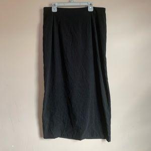 EUC Faux Suede Black long skirt womens Size 8